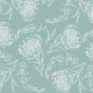 protea sketch blue placemat vinyl